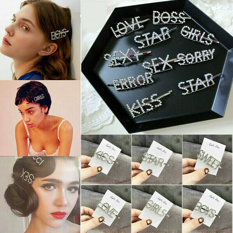 Diamond Words Letters Hair Clip Hairpin Barrette Slide Grips Jewelry Accessories