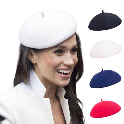- Womens Ladies Royal Styles Soft White Beret 100% Wool Felt Hats Fascinators