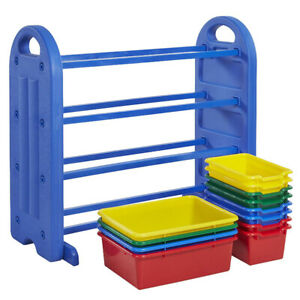 4-Tier Plastic Kids Toys Storage Organizer with Bins (shelf)