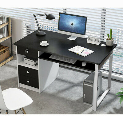 Black Computer Desk Kids PC Table Laptop Home Office Study Workstation w/ Drawer