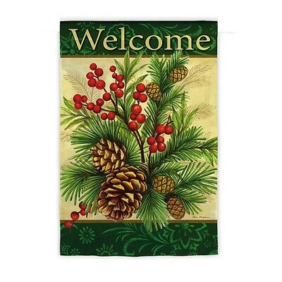 - Welcome Winter Pine Pinecones Berries Large Flag DT