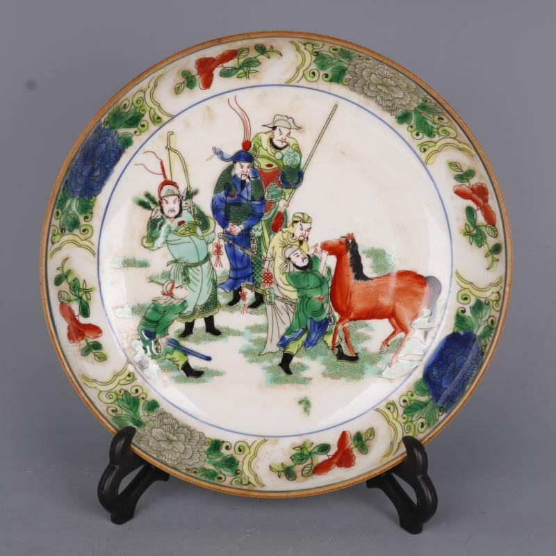 """8.7"""" Chinese Qing Dynasty Famille Rose Porcelain Figure Stories Ornament Plate"""