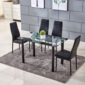 Black PU Leather Dining Chairs High Back Padded Set of 6 Chairs........Brand New Boxed