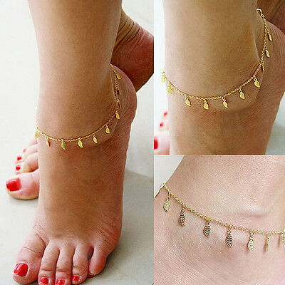 Women Gold Leaf Chain Anklet Ankle Bracelet Barefoot Sandal Beach Foot Jewelry