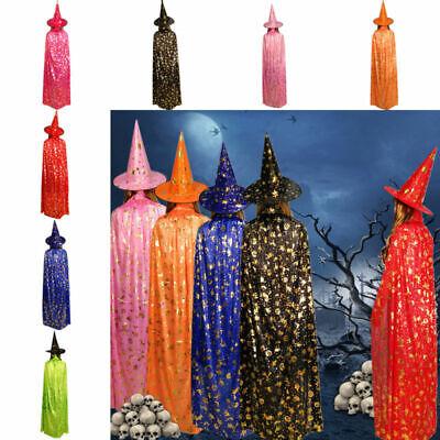 1 Set Halloween Magic Costumes evil Cape Witch Wizard Cloak Suit Mantle Hat Cap](Magic Halloween Costumes)