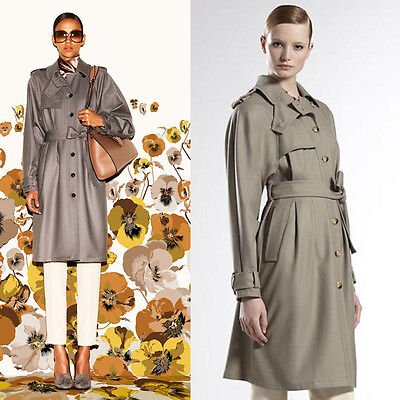 sz 42 NEW $2395 GUCCI RUNWAY Tan Raglan SOFT Cozy WOOL BELTED TRENCH Winter COAT