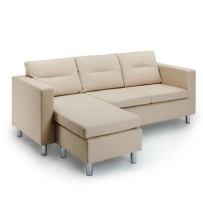 BIO DESIGN Cream Sofa Set Lounge Suite Chaise Couch Faux Leather 3 Seater