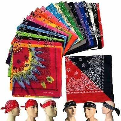 Square Paisley Pattern Bandana Kerchief Cotton Neck Scarf Biker Headwear JS Neck Scarf Patterns