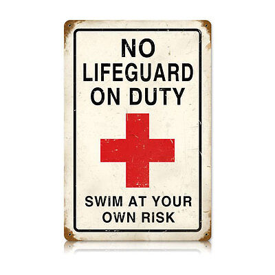 "Vintage Style Retro No Lifeguard Swim At Own Risk Steel Metal Sign 12"" x 18"""