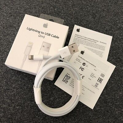 Genuine 2M Apple Lightning USB Charger Lead Cable For iPhone 8 7 6 5 iPad 4 Air