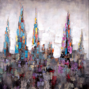 """""""Citadel Uno"""" Abstract Cityscape Acrylic Painted Canvas Wall Art"""