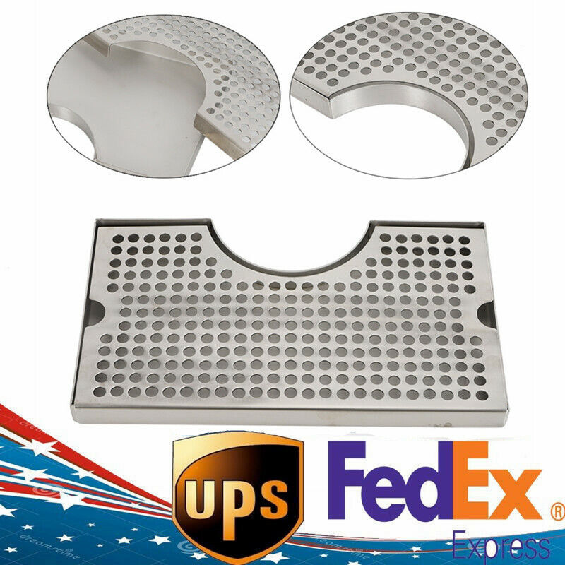 """12"""" Surface Mount Kegerator Beer Drip Tray Stainless Steel Tower Stainless Steel"""