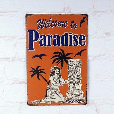 Welcome To Paradise Metal Tin Sign Decor Bar Pub Home Retro Poster