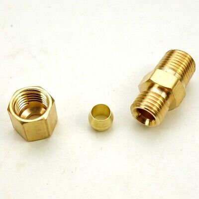 5Pcs Brass Compression Fitting Male Straight Connector 1/8