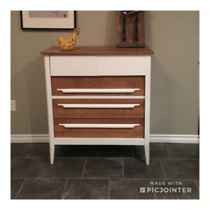Refinished Mid Century Solid Wood 5 Drawer Dresser