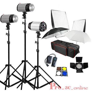 750W STUDIO Flash Lighting PHOTOGRAPHY STROBE LIGHT KIT 3 x 250W