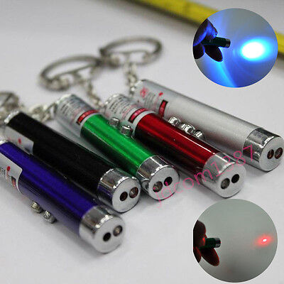Mini Ultraviolet Money Detector Red Laser Pointers Pen LED Flashlight Keychain