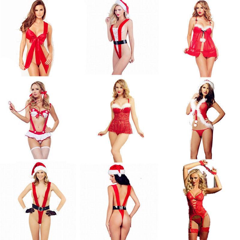 Christmas Underwear Women Sexy Lingerie Red Babydoll Dress S