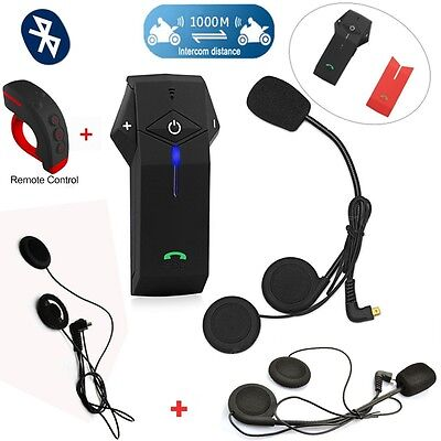 Motorcycle BT 1000m Intercom Headsets+Remote Control+1x Earpieces T-COM COLO-FDC