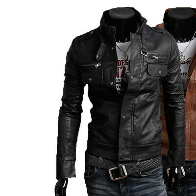 DE Herren Lederjacke Biker Men's Leather Jacket Coat Homme Veste En cuir N6pp2