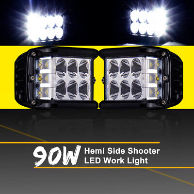 Work Cube Side Shooter LED Light Bar Spot Flood Driving Fog Pod 4'' 90W CREE x2