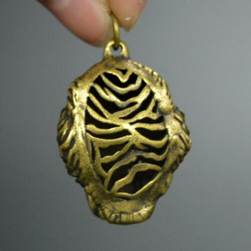 Chinese old collection handwork bronze Zodiac Tiger Key buckle statue Pendant