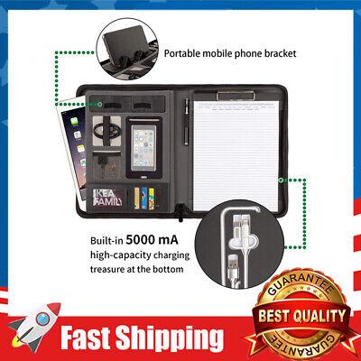 Zipper Padfolio Business Portfolio File Folder With Power Bank