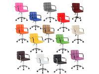 *£32* Cuban Executive PU Faux Leather Computer Office Desk Swivel Studio Salon Barber Wheels Chair