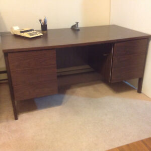 "Desk wooden 60"" x 30"" laminate walnut finish in Great condition"