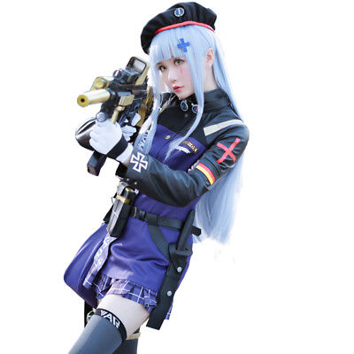 Cool Costums (Girls Frontline Dress Cool Suit HK416 Costume 404 squad  Purple Cosplay Costume)