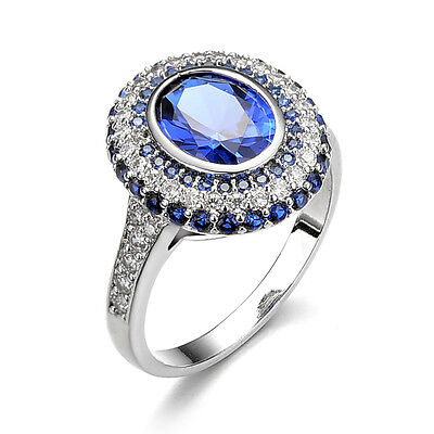 Size 7 Fashion Women Blue Sapphire White Gold Filled Wedding Ring Jewelry CA96