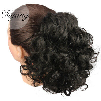 (3-5 Days Ship Women's Hair Bun Medium Long Curly Drawstring Ponytail Synthetic)