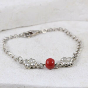"""Sterling Silver Puffy Flower Coral Bead Bracelet 7.75"""" (#1.25)"""