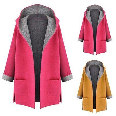 Women Winter Warm Hooded Coat Jacket Parka Overcoat Long Trench Cardigan Outwear