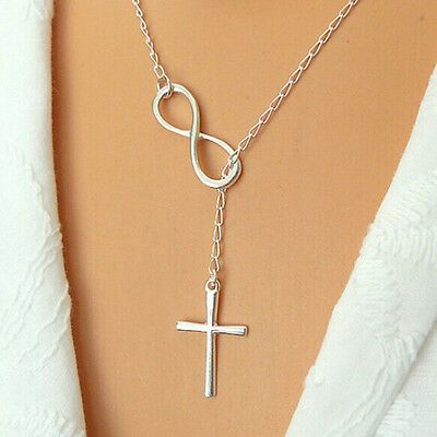 Elegant Silver Plated Cross Infinity Pendant Chain Necklace For Girl Jewelry** - Cross Necklace For Girl