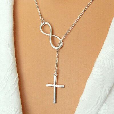 Elegante Silber Überzogene Kreuz Anhänger Kette Halskette Für Mädchen Schmuck UE ()