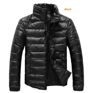 Mens Winter Coat Warm Down Parkas Stand up Collar Jackets Outerwear