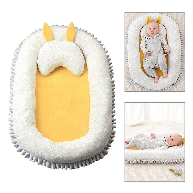 US Newborn Baby Bassinet Bed Portable Soft Lounger Crib Sleep Nest With Pillow