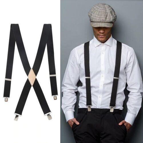 Adjustable Braces Mens Womens Unisex Suspenders X Back Trouser Elastic Clip On