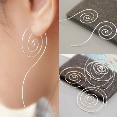 Fashion Whited K Plated Spiral Wire Drop Dangle Earrings Stud Silver Women Gift
