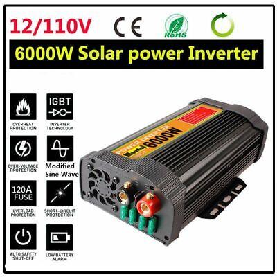 6000W 12000W Car Power Inverter DC 12V To AC 110V 2 Outlets RV Solar Converter