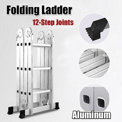 12.5ft Multi Purpose Aluminum Folding Step Ladder Scaffold Fold Step Platform