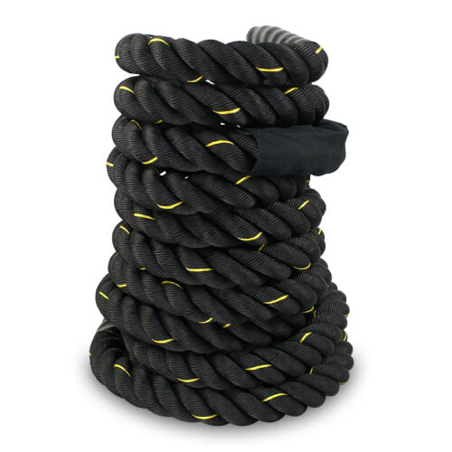 Durable 1.5″ 50FT Poly Dacron Battle Rope Exercise Workout Strength Training Fitness, Running & Yoga