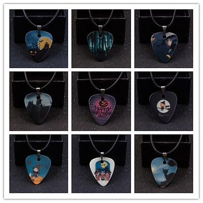 Men And Aomen Fashion Halloween Themed Guitar Pick Necklace Leather Chain