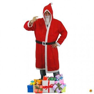 Nikolaus Set 3-tlg. roter Mantel mit Bart und Gürtel Weihnachtsmann Kostüm