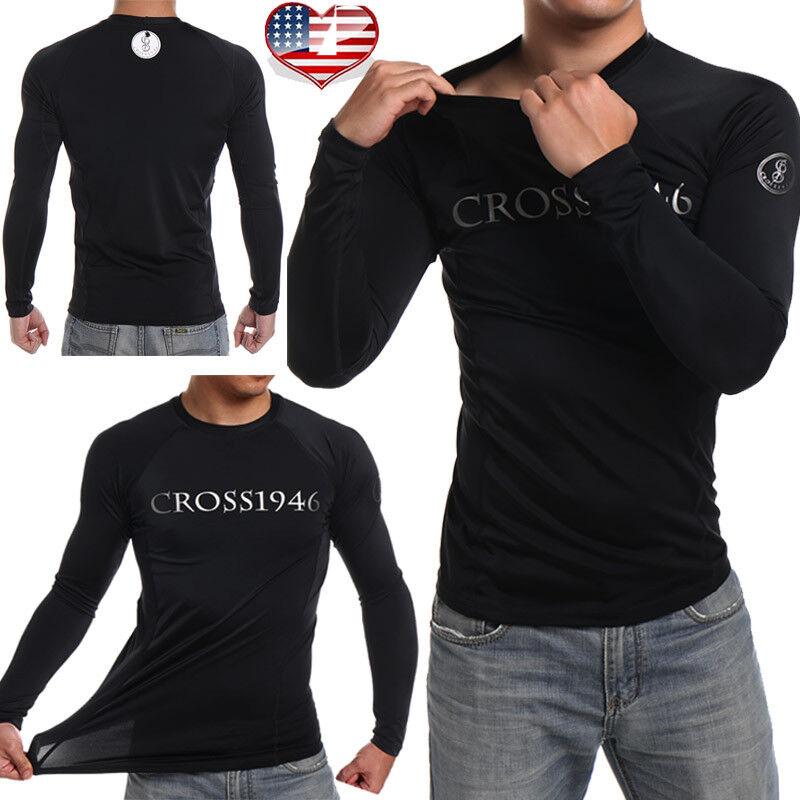 Aquatic Mens UV Protection Long Sleeve Rash Guard Shirt Top