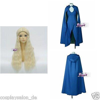 Game of Thrones Khaleesi Anime Cosplay Wig Kostüm Mantel Voll Set Halloween (Game Of Thrones Halloween Kostüme Khaleesi)