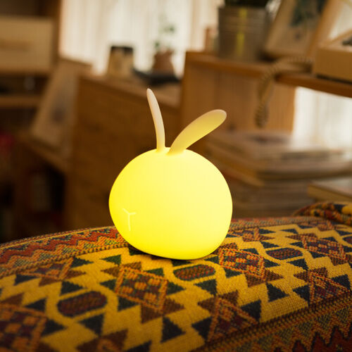 Rechargeable Rabbit Lamp Night Light Kids Dimmable LED 7-Color Change Dimmable