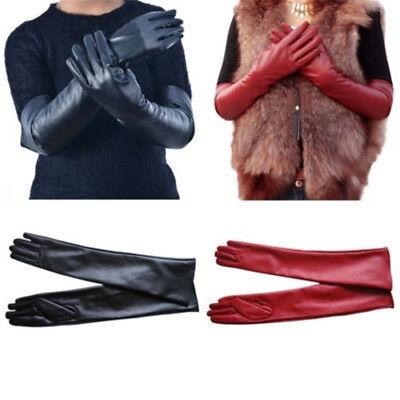 Damen Kunstleder Lang Handschuhe Warm Winter Handstulpen Party Lederhandschuhe Xl Lange Handschuhe