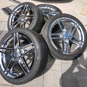 CORVETTE C6 Z06 Reps RIMS And TIRES + TPMS for Base C6 Fitment